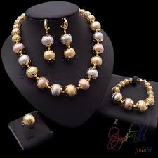 beaded jewelry design necklace images Four piece jewelry sets 3 color copper bead jewelry set dubai gold jpg