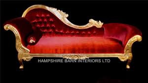 french chaise lounge sofa a beautiful large gold leaf u0026 red velvet hampshire chaise longue