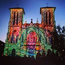 the saga is a video art installation projected on the side of the