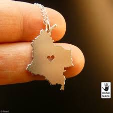 Personalized Sterling Silver Necklace Colombia Map Handmade Personalized Sterling Silver 925 Necklace