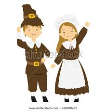 Happy Thanksgiving Pilgrims Thanksgiving Day Children Pilgrim Couple Stock Vector 88293559