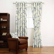 summer palace royal blue floral linen mix curtain fabric laura