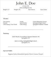 theatrical resume format actors resume format student actor resume template yralaska