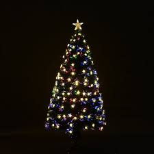 homcom fibre optic tree lighting colourful led