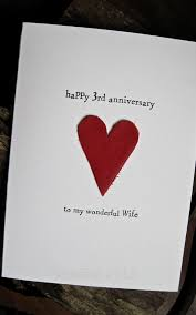 3rd year anniversary gift ideas for 3rd wedding anniversary card leather traditional gift handmade