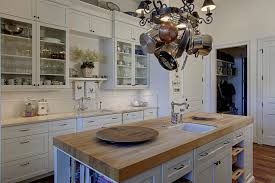 Hanging Pot Rack In Cabinet by Kitchen Room Butcher Block Island Kitchen Traditional Butcher