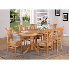 Double Pedestal Dining Room Tables East West Furniture Vanc7 Oak C Vancouver 7 Piece Oval Double