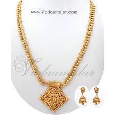 gold chain necklace long images Long chain necklace pendant and earring set gold plated for sarees jpg