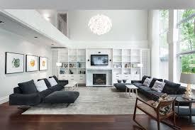 modern living room ideas with dark wood flooring plus gray rugs
