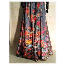 silk skirt black silk handwork blouse smokey grey digital silk skirt