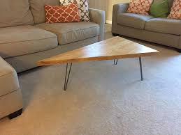 Triangular Coffee Table How To Build A Triangle Coffee Table With Hairpin Legs Revival