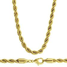 gold plated chain necklace images Luxury rope chain necklace 18k gold plated 4mm 20 quot diamond jpg