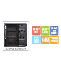 Desktop Cabinet Online Zebronics Nexus Gaming Desktop Pc Cabinet Without Smps Zeb 906b