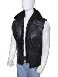 leather vest wwe wrestler aj style leather hoodie vest instylejackets