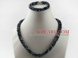 coloured crystal necklace images Black color czech crystal necklace bracelet set with magnetic clasp jpg