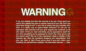Tyler Durden Meme - fight club fc warning by tyler durden freecocaine