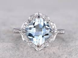 white gold engagement ring with gold wedding band 9mm cushion aquamarine engagement ring white gold diamond wedding