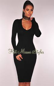 black ribbed knit v neck long sleeves sweater dress