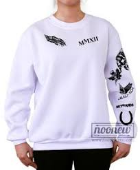 calum hood tattoos sweatshirt grey and white sweater by noonew
