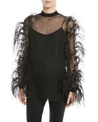 ostrich feather l shade valentino ostrich feather long sleeve silk chiffon blouse and