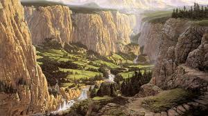 wallpaper middle earth screenheaven middle earth rivendell ted nasmith cliffs landscapes