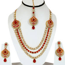 bridal wedding necklace set images Red kundan cz gold tone bollywood choker necklace bridal jewelry jpg