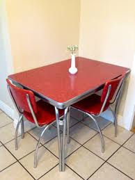 S Chrome Retro Red Kitchen Table With  Red By Elcroft - Red kitchen table and chairs
