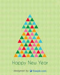 new year postcard greetings happy new year greeting card of a christmas tree vector free