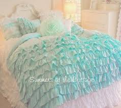 aqua ruffle comforter shabby beach cottage aqua ruffles chic comforter set twin or full