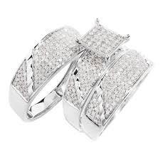 wedding trio sets 10k white gold square diamond trio wedding ring set 1 10 ctw