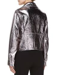 leather biker vest mcq metallic leather biker jacket in metallic lyst