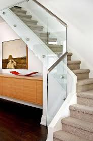 Stair Banister Glass Glass Railing With Wood Handrail More Contemporary Option