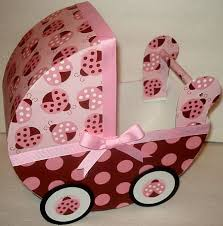 pink and brown ladybug baby carriage table centerpiece gift box
