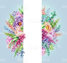Invitation Blank Card Stock Watercolor Illustration Floral Background Wild Flowers Bouquet