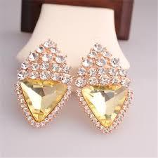 big diamond earrings fashion big size rhombus diamond earrings wedding style 18k