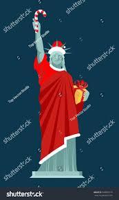 santa statue liberty candy cane gift stock illustration 540890119