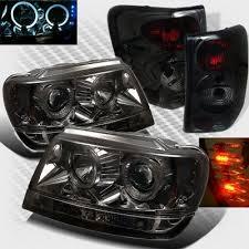 2002 jeep grand cherokee tail light jeep grand cherokee 1999 2004 smoked halo projector headlights and