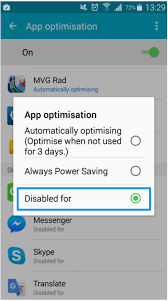 android optimizing app how can i remove the battery optimization for the tado app in