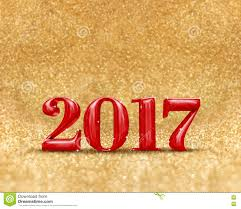happy new year 2017 3d rendering red color at golden sparkling
