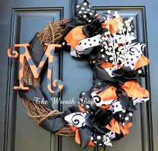 Halloween Wreathes Monogram Halloween Wreath Orange And Black By Creationsbysarajane