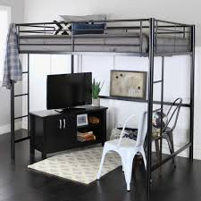 black metal loft bed frame with ladders added by lcd tv on black