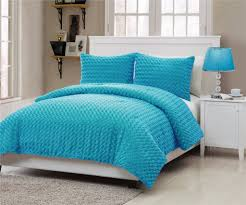 Blue Fuzzy Rug Amazon Com Vcny Rose Fur 3 Piece Comforter Set Full Blue Home