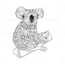 koala black white hand drawn doodle animal coloring stock