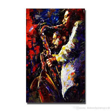Decorative Wall Art 2017 play saxophone oil painting wall art home decoration hand