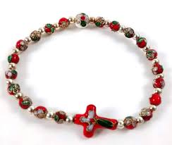 cross bracelet bead images Red cloisonne bead cross rosary bracelet jpg
