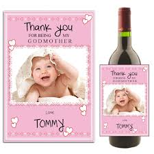 Will You Be My Godparent Invitation Card Personalised Godmother Thank You Wine Champagne Bottle Photo Label N27