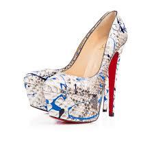 golden chain christian louboutin python vulcano blue shoes
