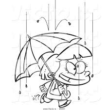 vector of a cartoon happy with an umbrella in the rain