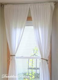 diy simple white sheet curtains dandelion patina