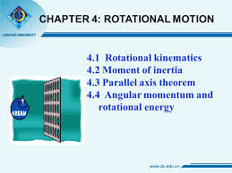 4 1 rotational kinematics 4 2 moment of inertia 4 3 parallel axis